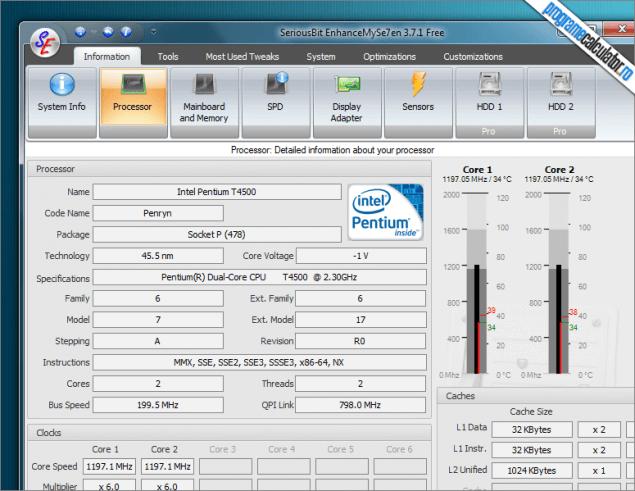 EnhanceMySe7en: date despre procesor