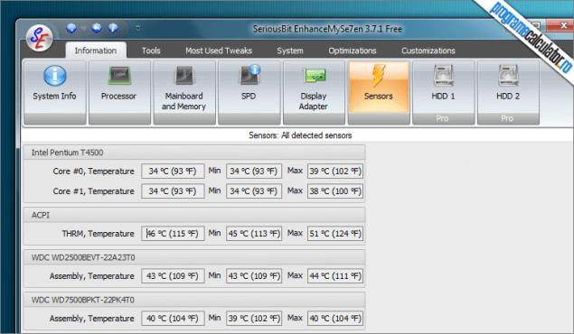 EnhanceMySe7en: temperaturile componentelor calculatorului