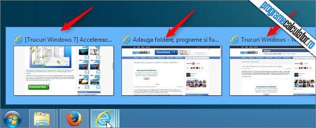 Previzualizare ferestre Taskbar Windows 7 - Internet Explorer