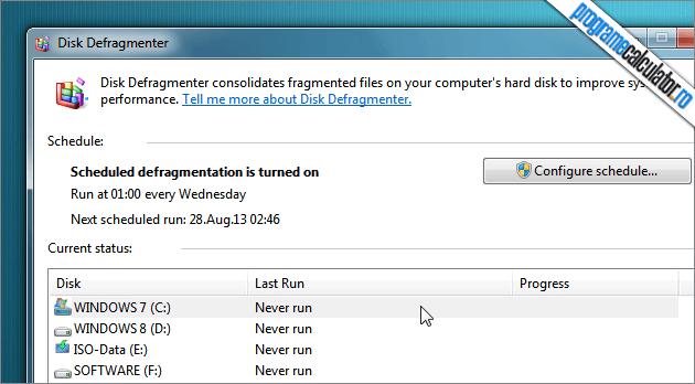 Optimizarea rapida a calculatorului: defragmentarea si optimizarea Hard Disk-ului