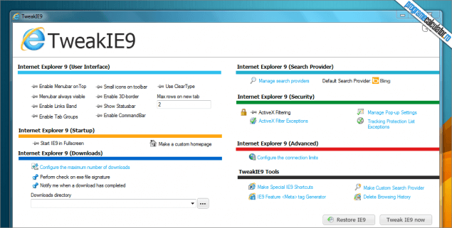 Program de configurat Internet Explorer 9