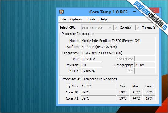 program de verificat temperatura procesorului