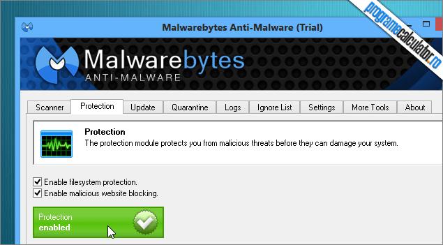 activarea protectiei programului de devirusat calculatorul
