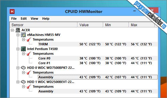program de verificat temperaturile calculatorului