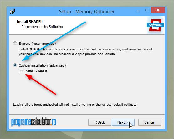 Custom installation Memory Optimizer