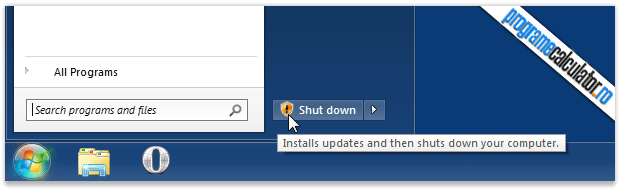 Install updates and then shuts down your computer