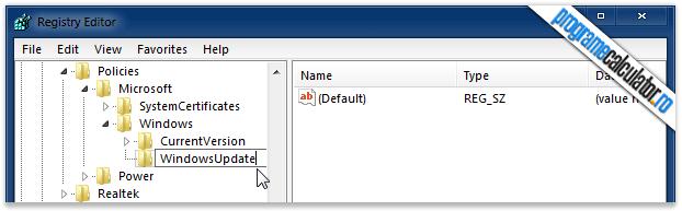 New » Key: WindowsUpdate