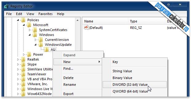 Windows » WindowsUpdate » AU » New » DWORD (32 BIT) Value