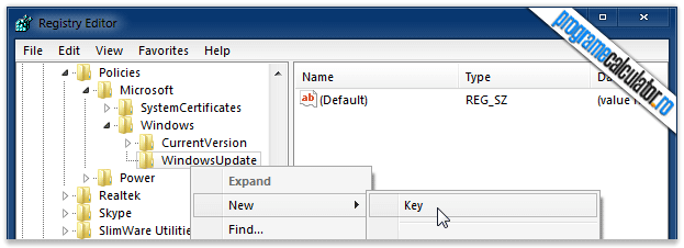 WindowsUpdate » New » Key