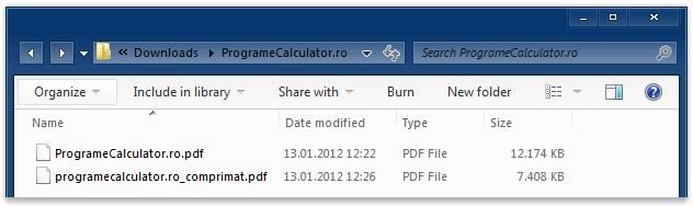Document PDF îninte și după ce a fost comprimat