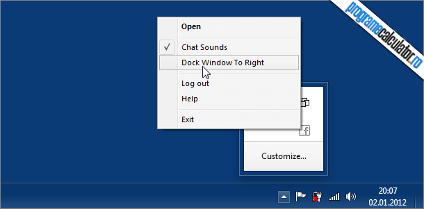 Facebook Messenger » System Tray » Dock Window To Right