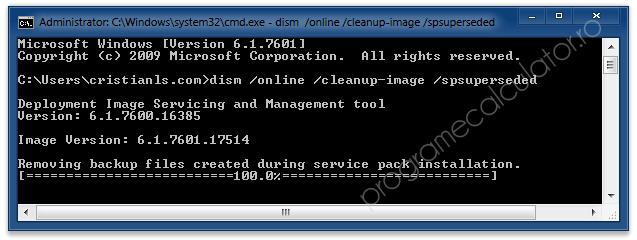 Fișierele de backup create la instalarea Service Pack-ului au fost șterse