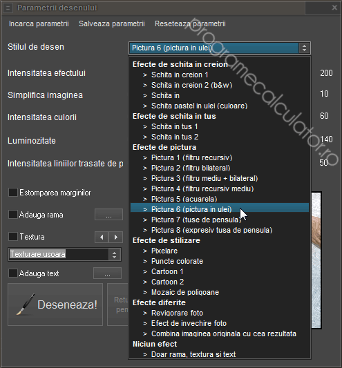 Lista filtre FotoSketcher