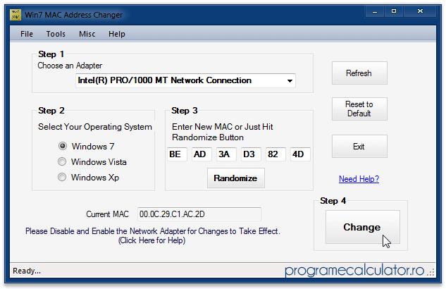 Program de schimbat / modificat adresa MAC a calculatorului