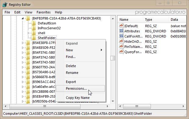 Registry Editor » ShellFolder » Permissions