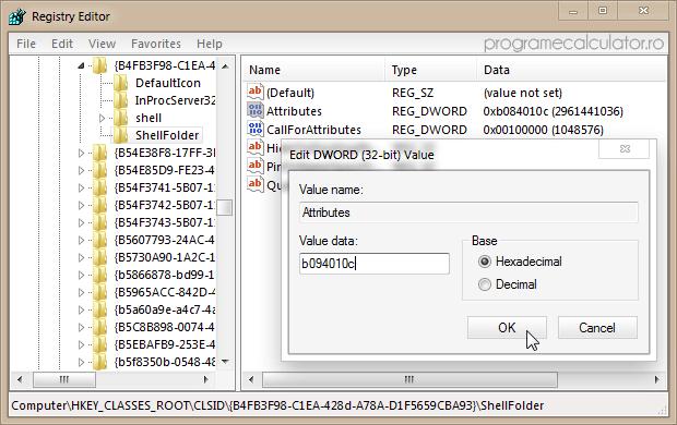 ShellFolder » Atributes » Value data