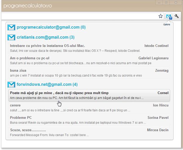 Verifică mai multe conturi de Gmail, simultan