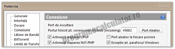 configurare port uTorrent