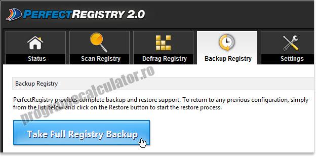 Fa un backup al registrului inainte de a-i aduce modificări
