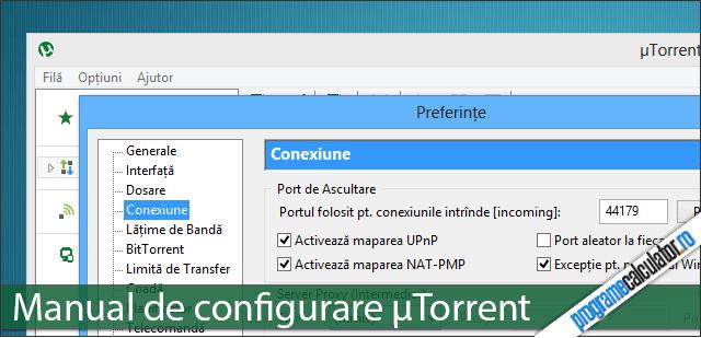 Manual de configurare uTorrent