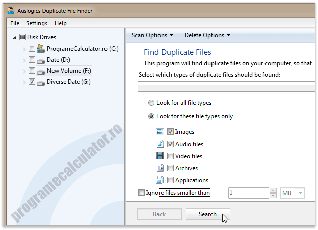 Program de sters dublurile - Auslogics Duplicate File Finder