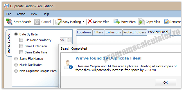 Program de sters dublurile - Free Duplicate Finder