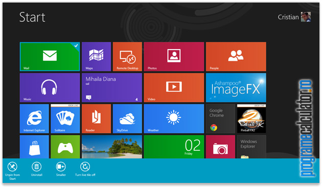Click-dreapta aplicatie start screen Windows 8