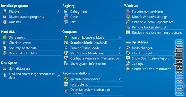functii de mentenanta si optimizare TuneUp Utilities 2012