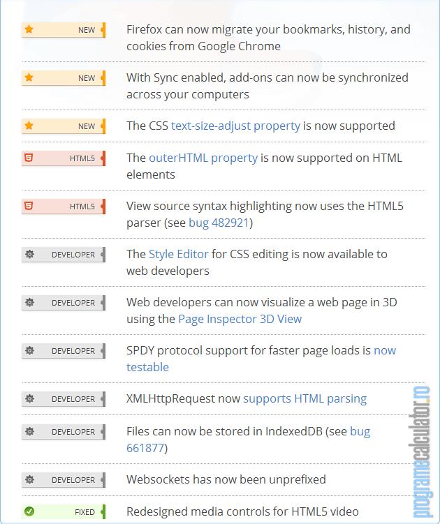 noutăți Firefox 11