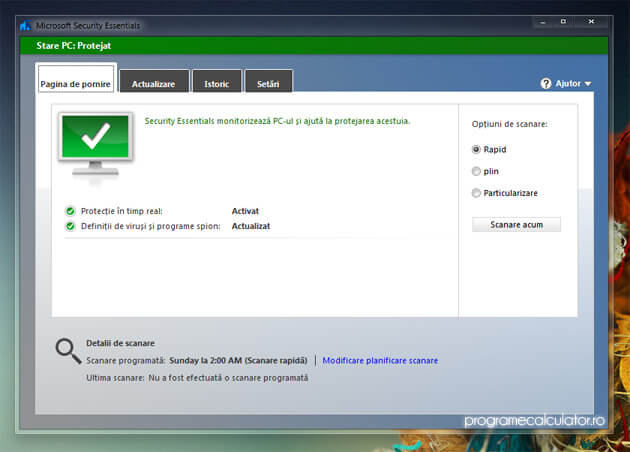 Sistem protejat de Microsoft Security Essentials 4.0