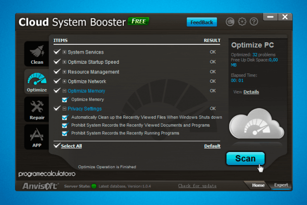 Optimizare PC cu Cloud System Booster