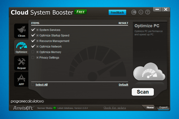 Program de optimizare: Cloud System Booster