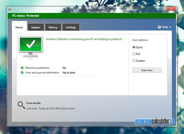 Antivirus pentru Windows 8: Defender