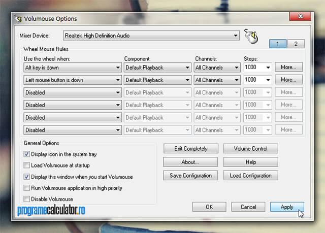 controlează volumul audio al calculatorului cu mouse-ul