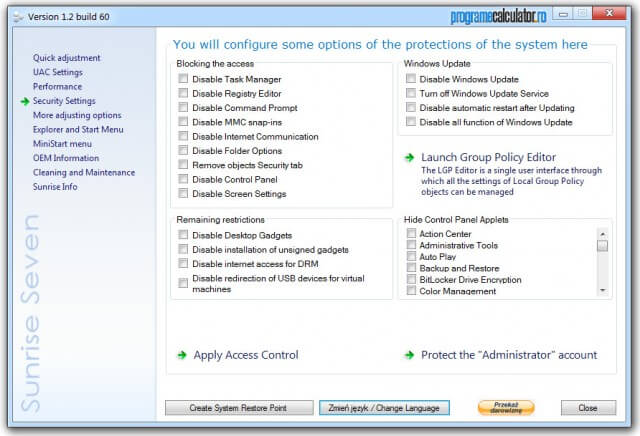 Sunrise Seven » Security Settings