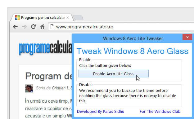 Cum se activează Aero în Windows 8