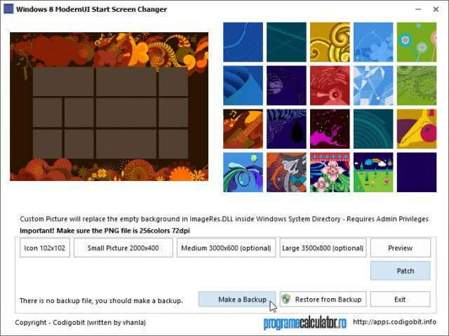Windows 8 ModernUI Start Screen Changer