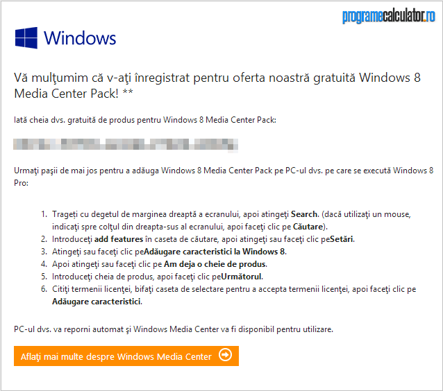 cheie gratuita pentru Windows Media Center