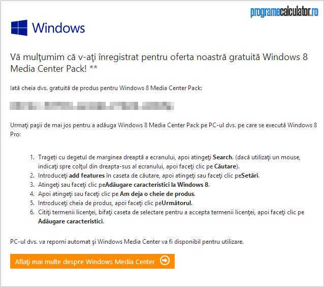 cheie gratuita pentru Windows Media Center