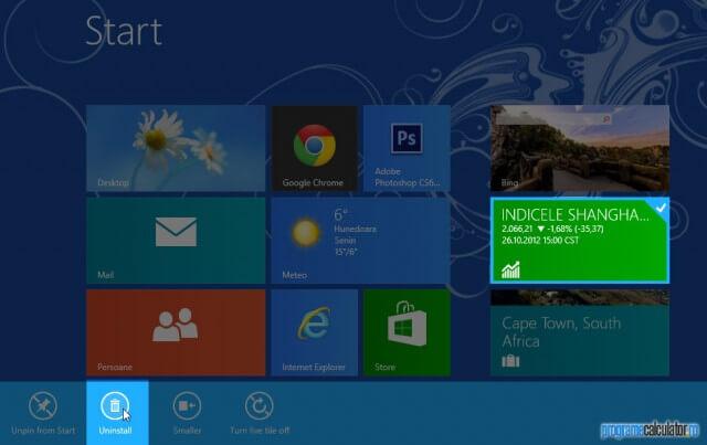 Cum se dezinstalează programele în Windows 8