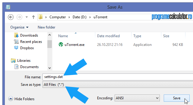 salvează documentul cu extensia .dat