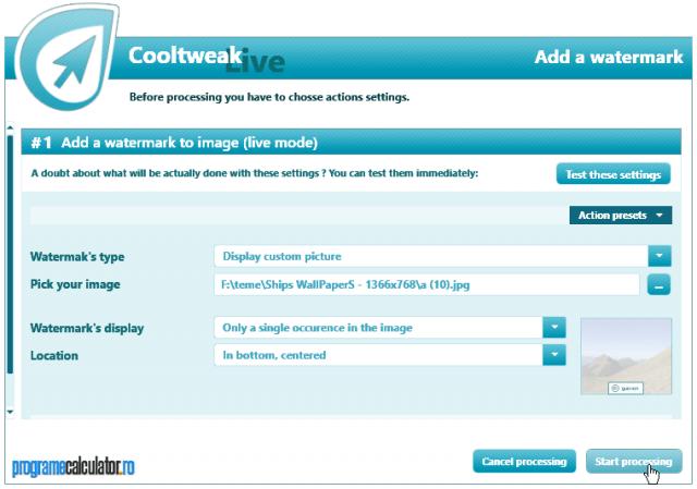 Adaugare watteramark  cu Cooltweak