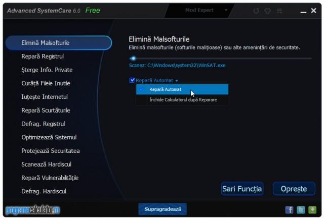 Advanced SystemCare Fre: Eliminare malware