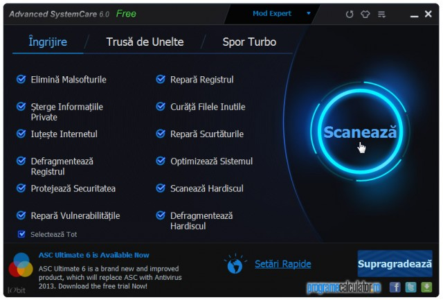 Advanced SystemCare Free: Scanare sistem