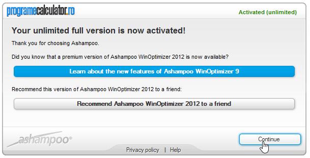Ashampoo WinOptimizer 2012 activat