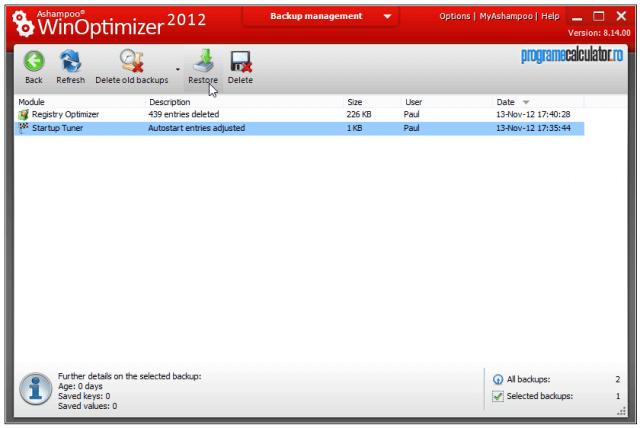 Backups Ashampoo WinOptimizer 2012