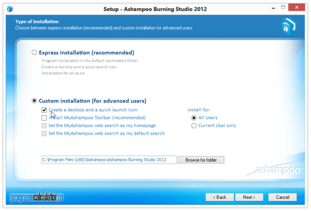 Instalare Ashampoo Burning Studio 2012