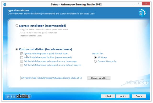 Instalare Ashampoo Burning Studio 2012