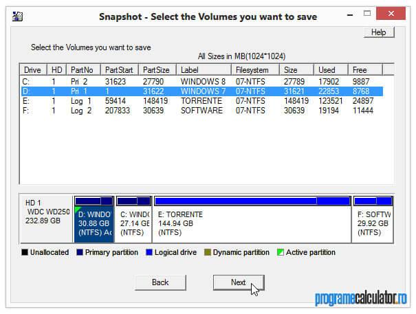 Selectarea partiției în Drive Snapshot