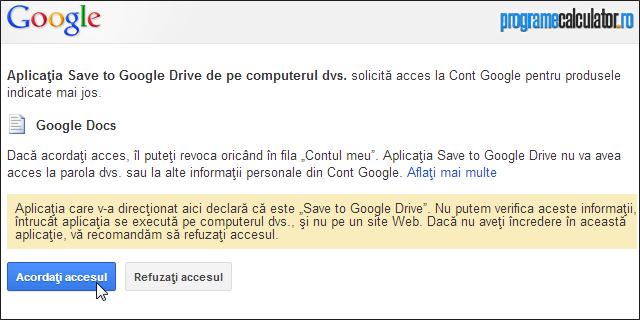 Acordați accesul extensiei Save to Google Drive